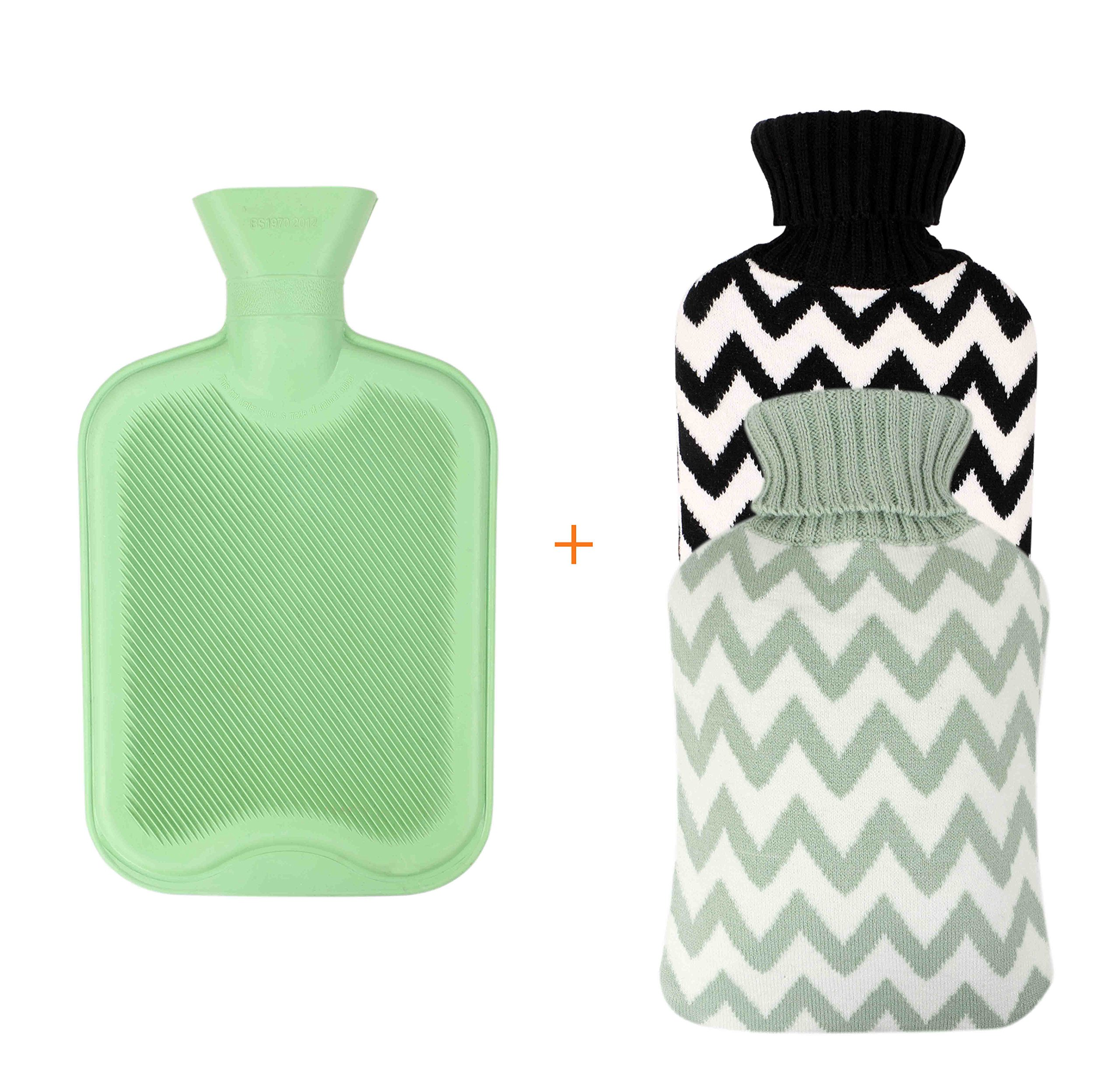 Excel Life Large Size Premium Classic Rubber Hot Water Bottle With 2 Cute Cozy Knit Covers (2 Liter, Black and Mint green stripe)