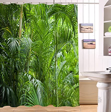 LB Rainforest Shower CurtainPalm Trees And Exotic Plants In Tropical Jungle 3D Digital Printing