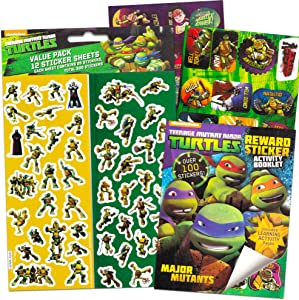 Teenage Mutant Ninja Turtles Stickers Party Favor Set ~ Bundle Includes Over 400 TMNT Stickers, Activity Pages, and Award Certificates (21 Sticker Sheets, TMNT Party Supplies)