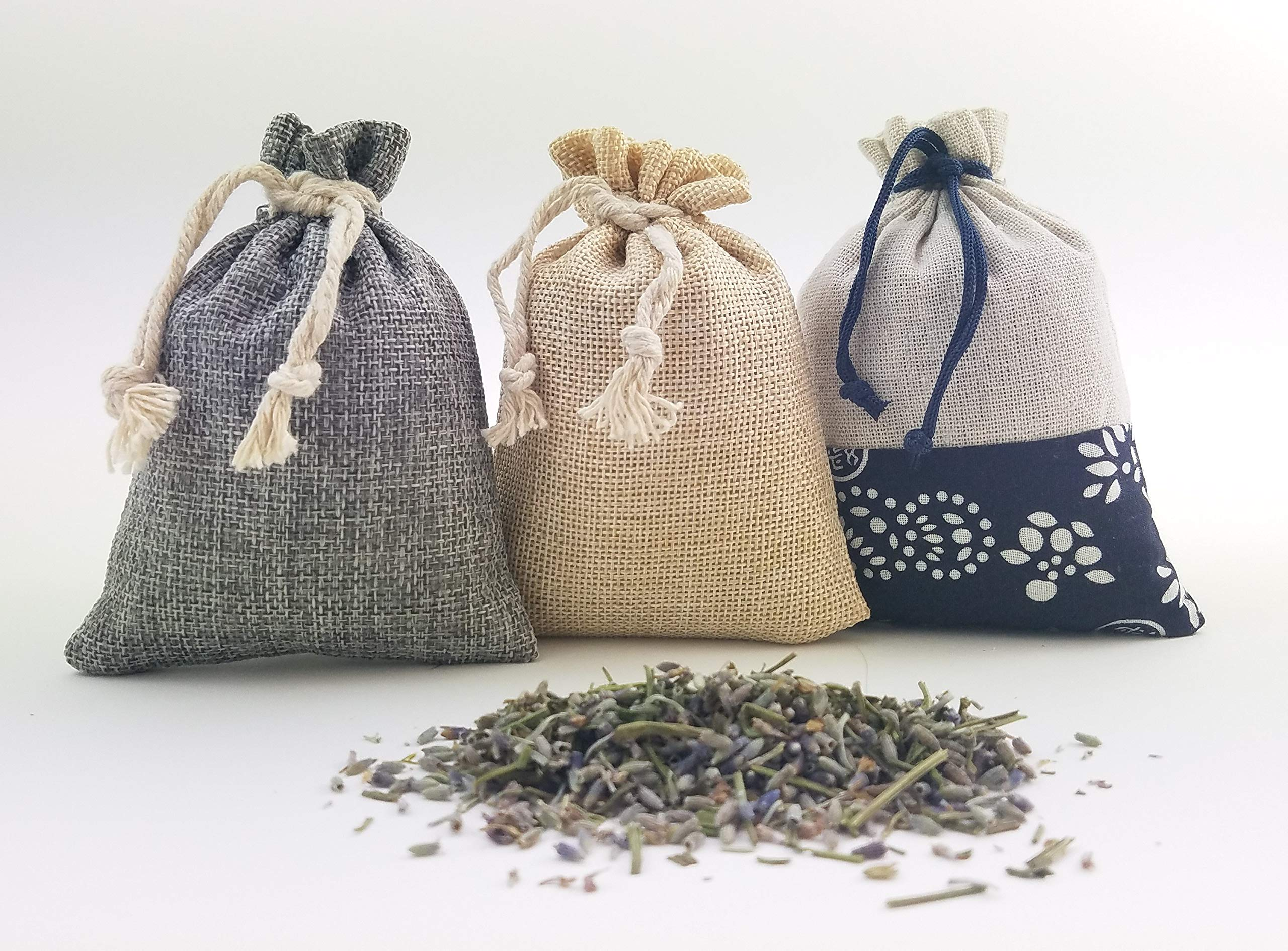 Lavender Scent Sachets, 32 Grams of Fresh, Naturally Dried, Fragrant Lavendula in Burlap Bags (3.7''x5.3''), (Set of 3 Colors: tan, Grey & Ethnic Print) Harvested in Northern California