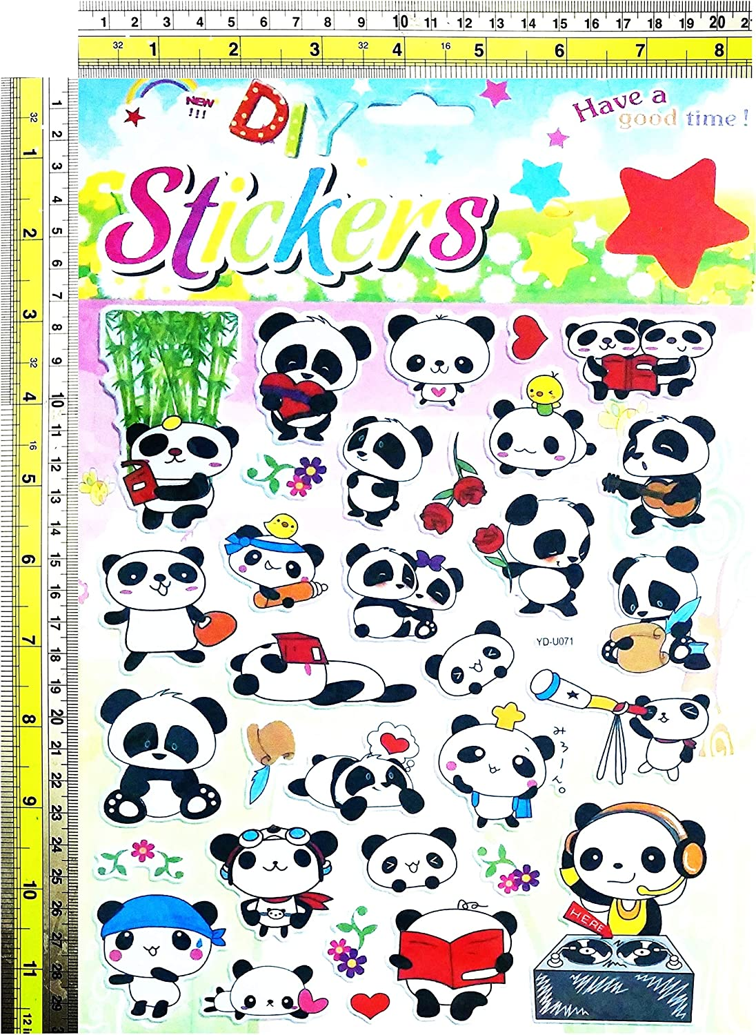 12 Sheets PANDA Stickers Sheets Childrens Party Bag Fillers Kids Craft Toys