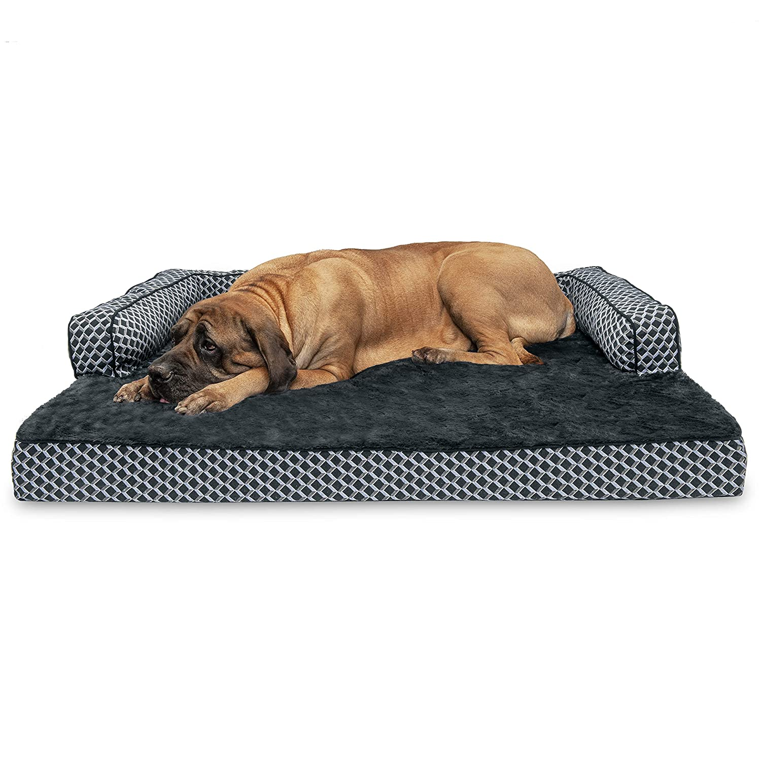 Furhaven Pet Dog Bed Orthopedic Plush Faux Fur D cor Comfy Couch Traditional Sofa-Style Living Room Couch Pet Bed w Removable Cover for Dogs Cats, Diamond Gray, Jumbo Plus