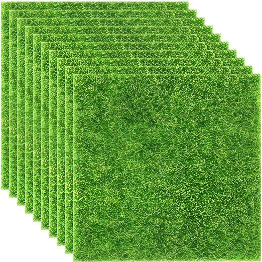 Elcoho - 10 piezas de césped artificial para jardín, césped artificial, hierba artificial, en miniatura, decoración de casa de muñecas, 6 x 6 pulgadas: Amazon.es: Hogar