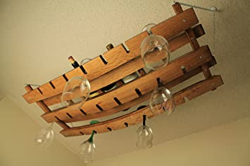 Amazoncom Hanging Wine Bottle And Glass Rack Made From Oak Wine