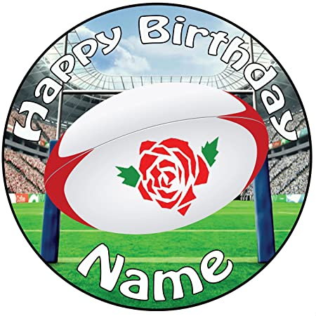 Personalised England Rugby Ball Birthday Icing Cake Topper