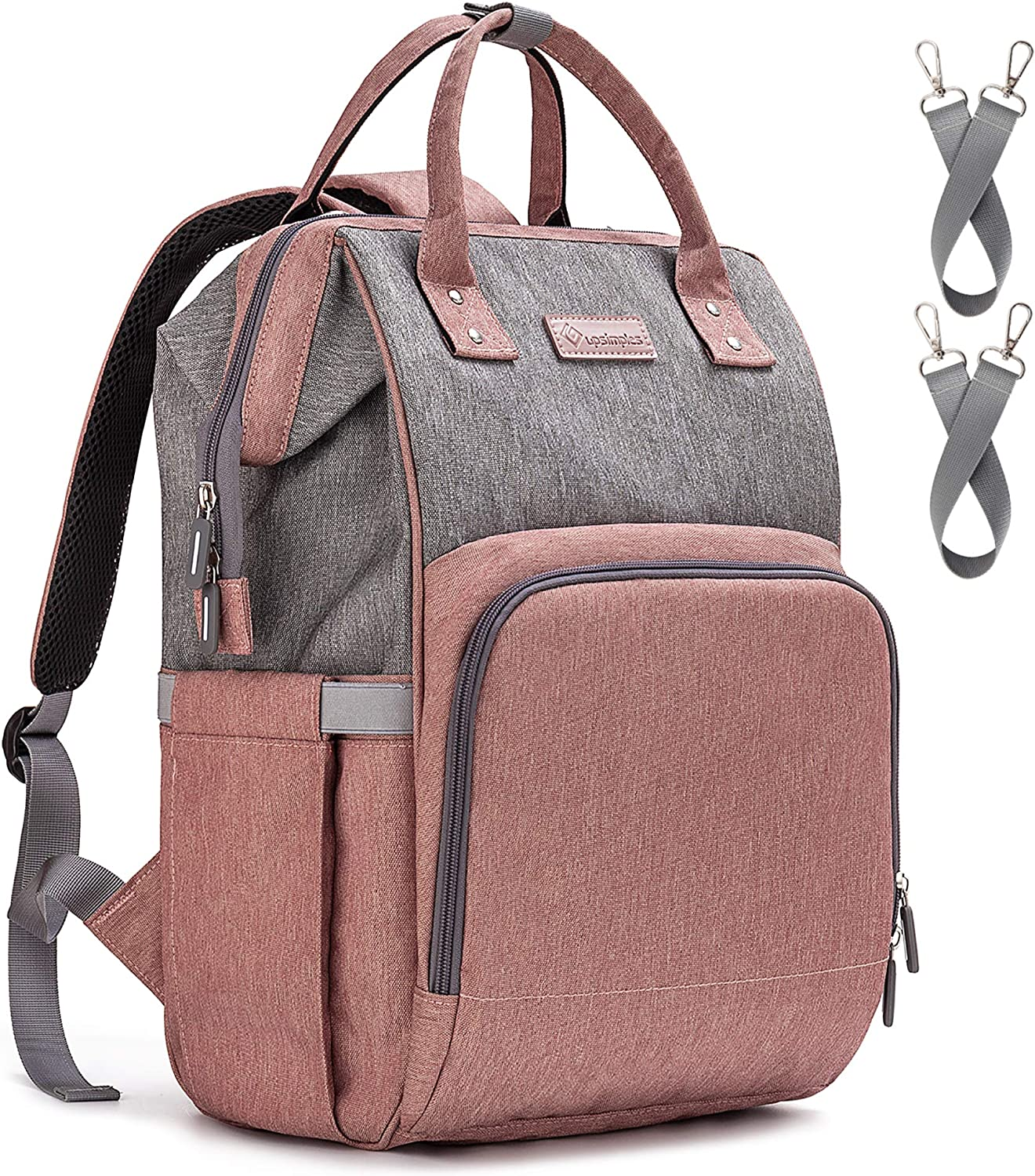 Upsimples Baby Changing Bag,Nappy Bags,Diaper Rucksack Backpack with USB Charging Port and 2 Stroller Straps for Mom and Dad (Pink&Gray)
