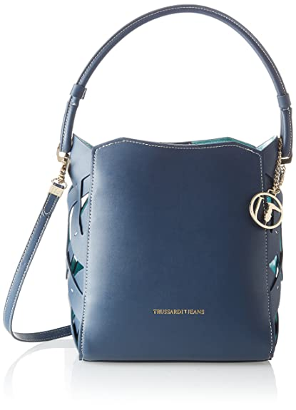 026591ef7ee30 Trussardi Jeans Dahlia Smooth Ecoleather printed Canvas Hobo Bag ...