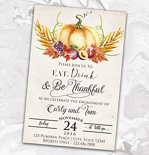 Amazon Com Thanksgiving Engagement Party Invitation Eat Drink