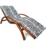Ampel 24 Relax Liegestuhl Tropica braun, Gartenliege aus vorbehandeltem Holz Wetterfest, Relaxliege mit Armlehnen & Auflage, Stuhl Bespannung braun