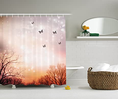 butterfly shower curtain fantasy decor by ambesonne dreamy butterflies and over trees romantic sky artistic