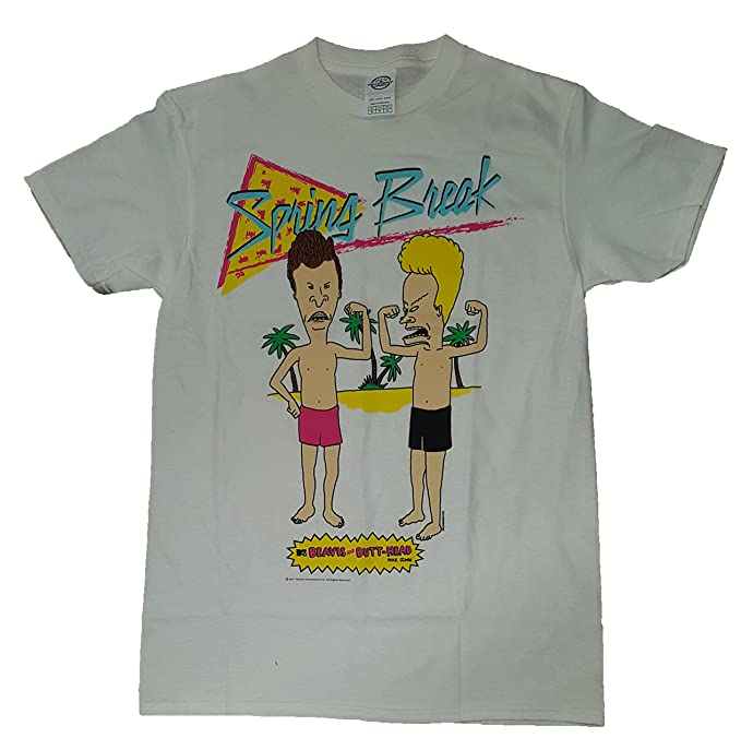 3a2095ab999 Amazon.com  Beavis and Butt-Head Spring Break White Graphic T-Shirt   Clothing