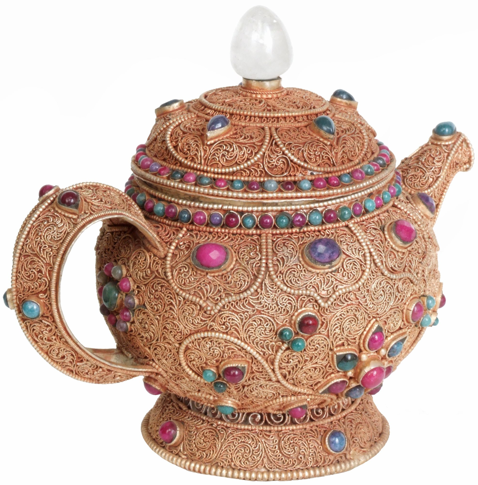 Superfine Filigree Kettle with Lid and Gemstones (Museum Quality) - Copper
