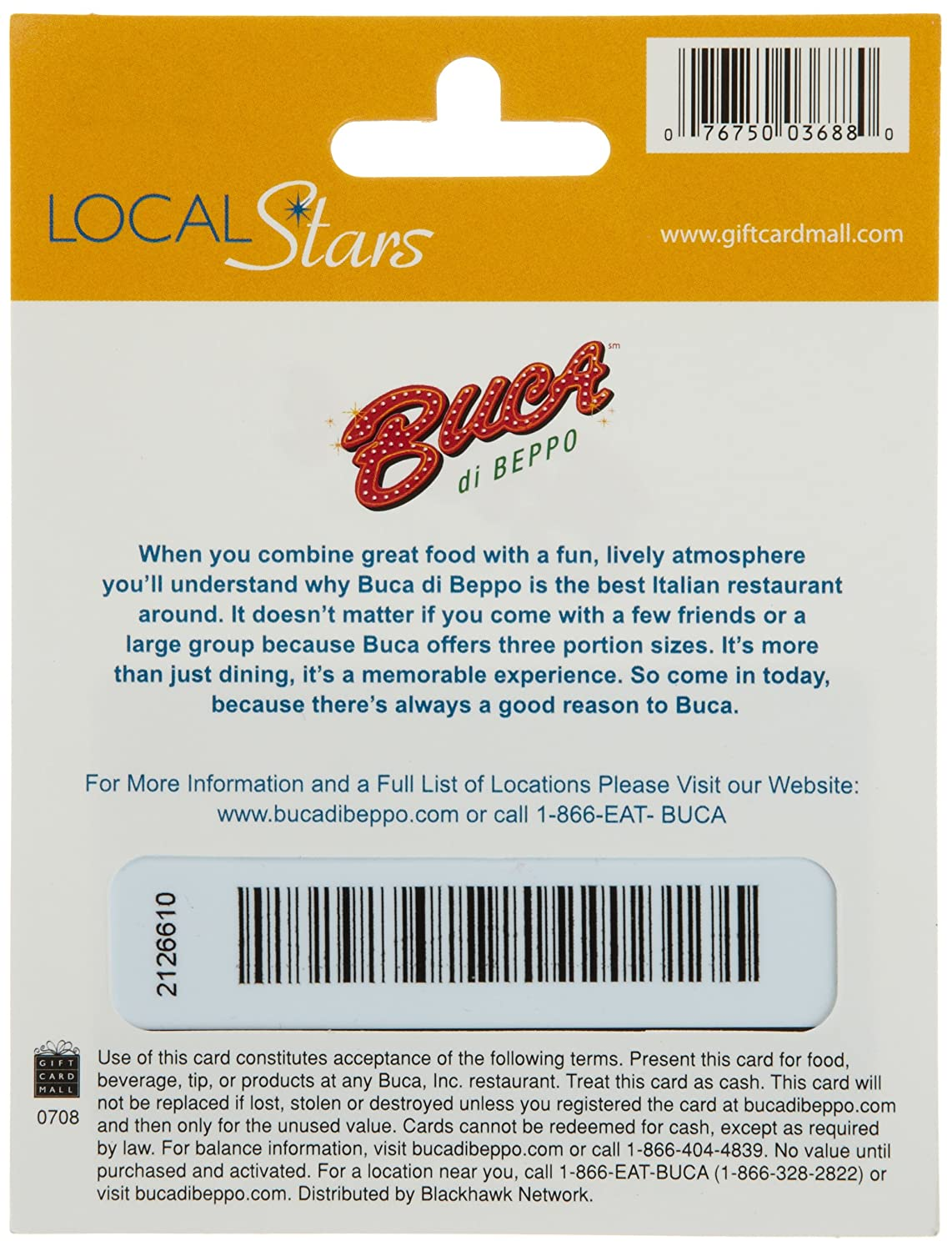 Amazon.com: Buca di Beppo Holiday Gift Card $25: Gift Cards