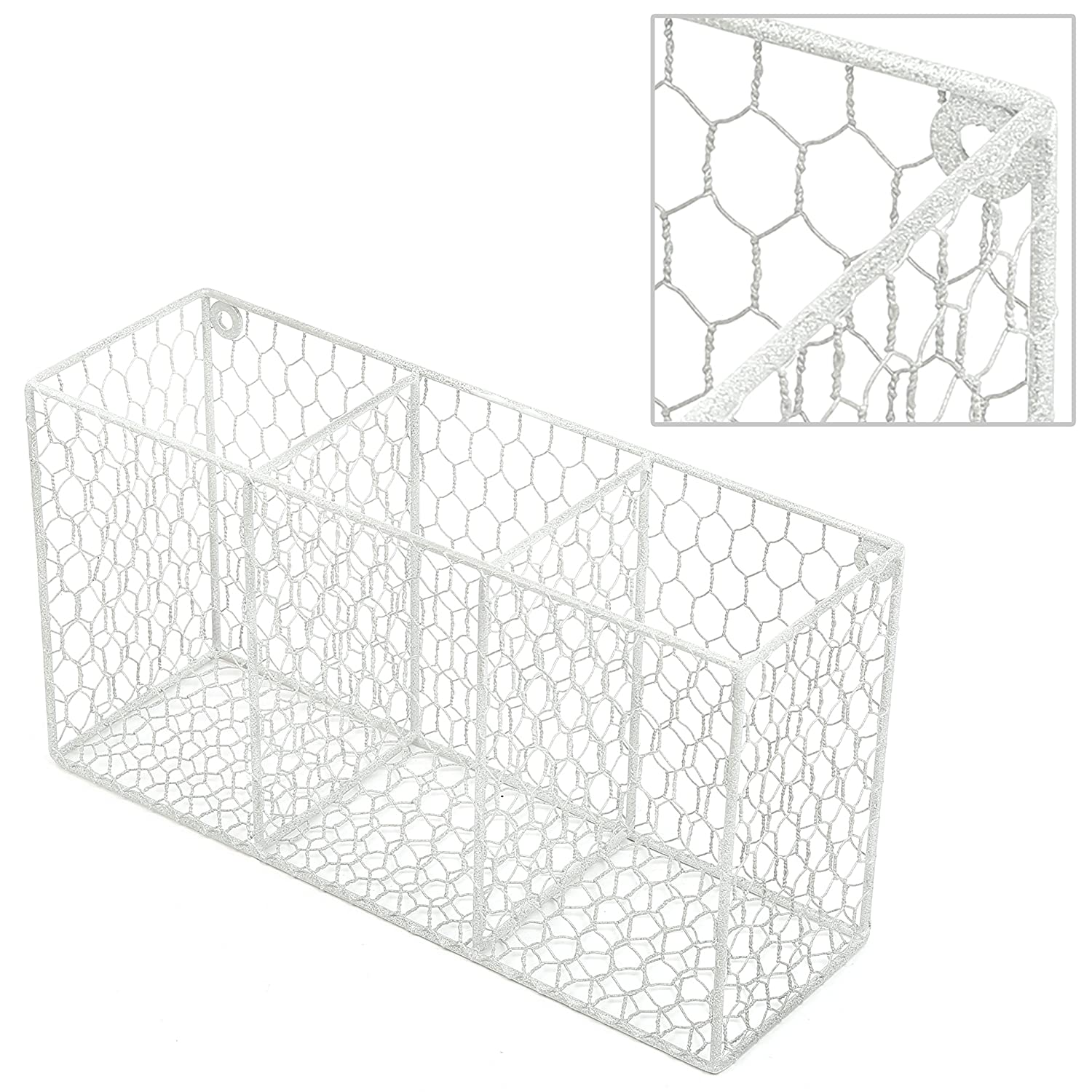 Amazon.com: 3 Compartment Rustic Chicken Wire Kitchen Utensil Holder ...
