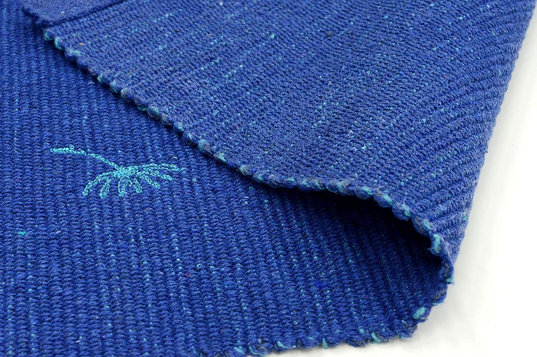 Casa Service Tappeto Cotone Soffio 50x140 cm 50x190 cm Bagno e Cucina Cotone Ricamato Lavabile in Lavatrice Antiscivolo Vari Colori Assorbente Blu, 50x140/_cm
