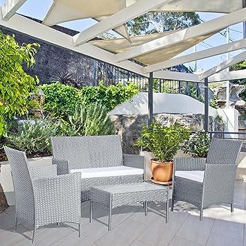Concept-Usine Mykonos Gris/Blanc : Salon de Jardin 4 Places en ...