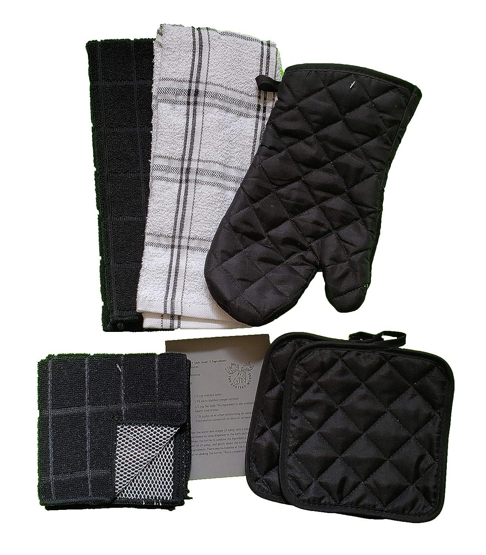 The Spotted Moose Kitchen Linen Set Black 7 Piece Bundle 2 Potholders Black 2 Dishcloths and 1 Oven Mitt 2 Dish Towels