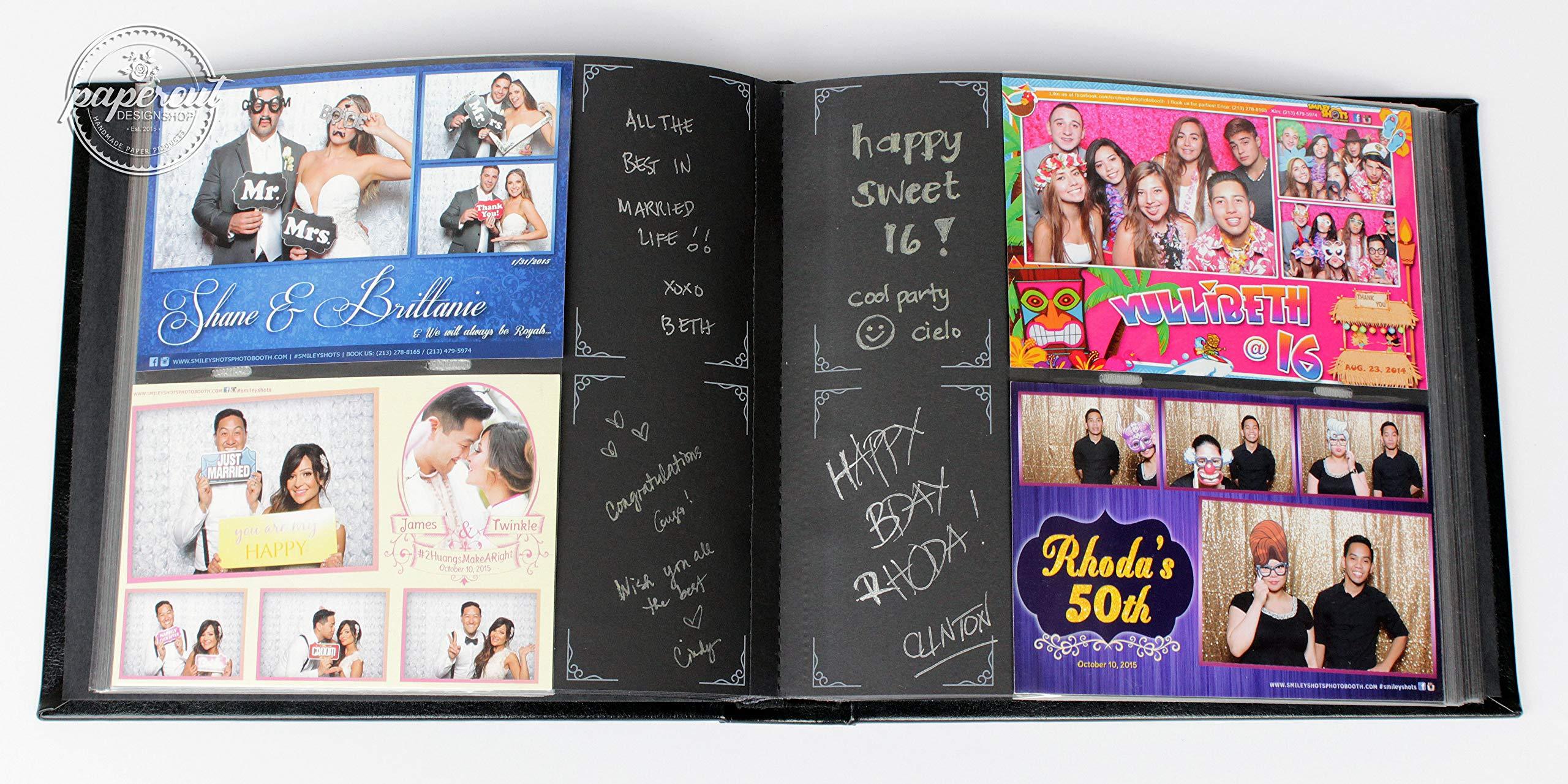 Paper Cut Design Shop Photo Booth Album Slip-in Plastic Slots with Box, Elegant Black Leatherette Album 4x6 Photos