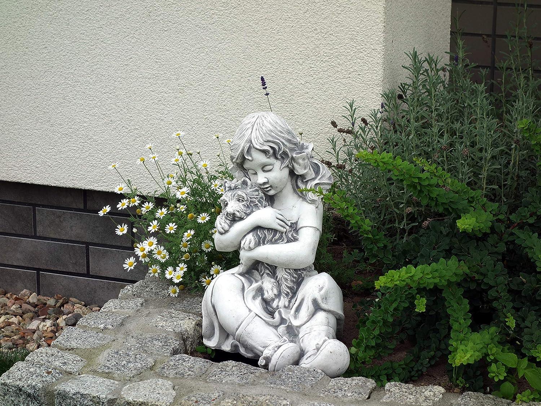 gartendekoparadies.de Massive Steinfigur M/ädchen mit Hund Gartendeko aus Steinguss frostfest