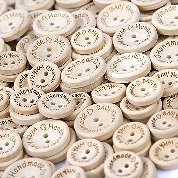 HONGXIN-SHOP Kn/öpfe Runde Holzkn/öpfe Handmade with Love Kleine Kn/öpfe f/ür N/ähen Handwerk Scrapbooking und DIY Handgefertigte Verzierung 15mm 20mm 150 St/ück