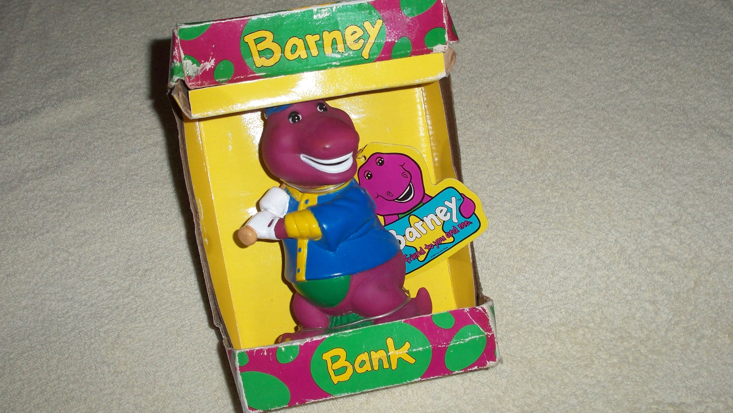 1992 Official Barney the Dinosaur kids coin bank by Happiness Express
