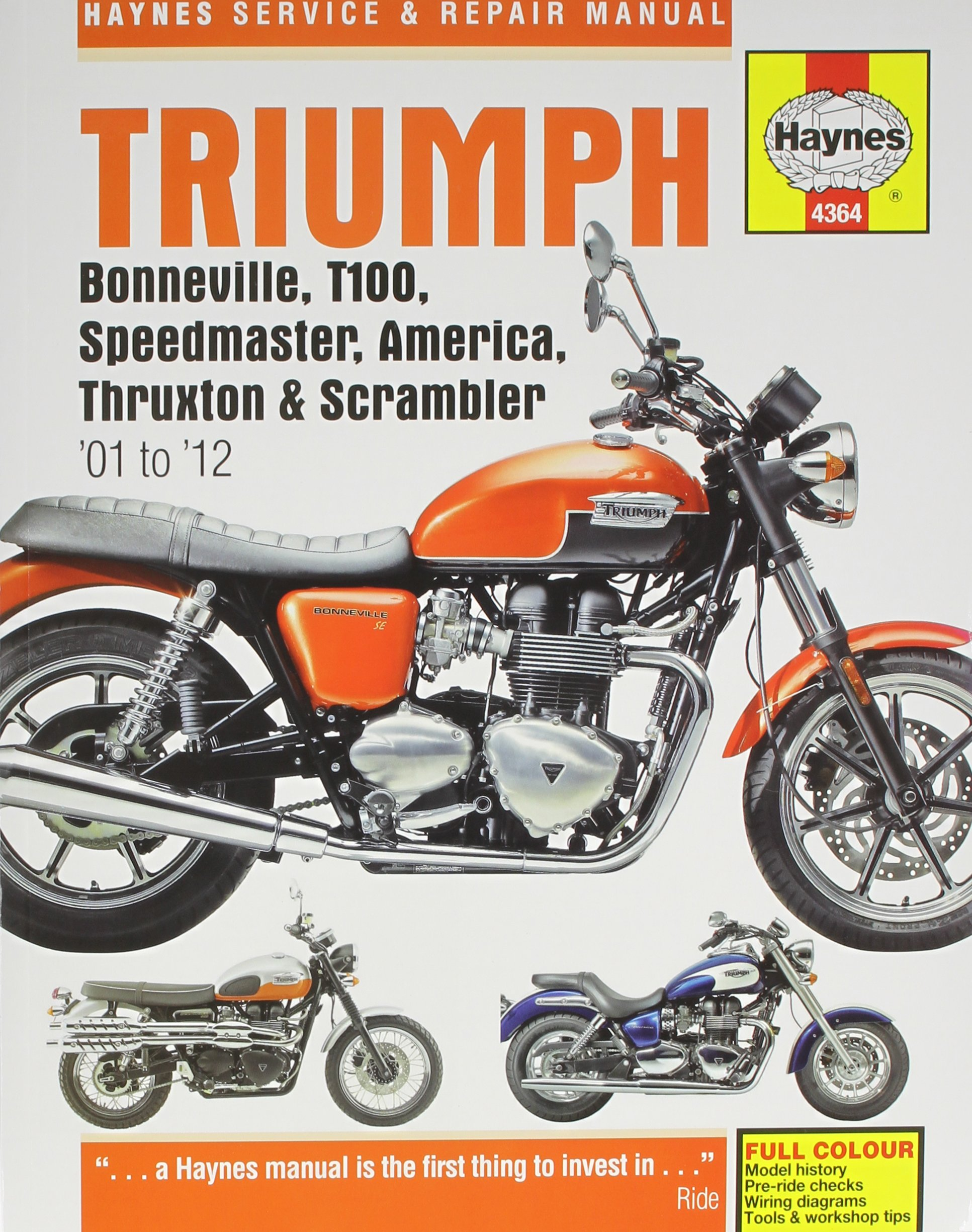 Triumph Bonneville, T100, Speedmaster, America, Thruxton & Scrambler '01 to  '12 (Haynes Service & Repair Manual): Editors of Haynes Manuals:  0699414004836: ...