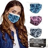 Lace Disposable Face Masks, Stylish Lace Pattern 3ply Mask, Lacy Printed Cute Design Mask for Adult with Bendable Nose Clip,