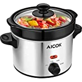 Aicok Slow Cooker Round Manual Cooker 2 Quart Mini Cooker Pot with Nonstick Removable Crock Stoneware and Stainless Steel Exterior