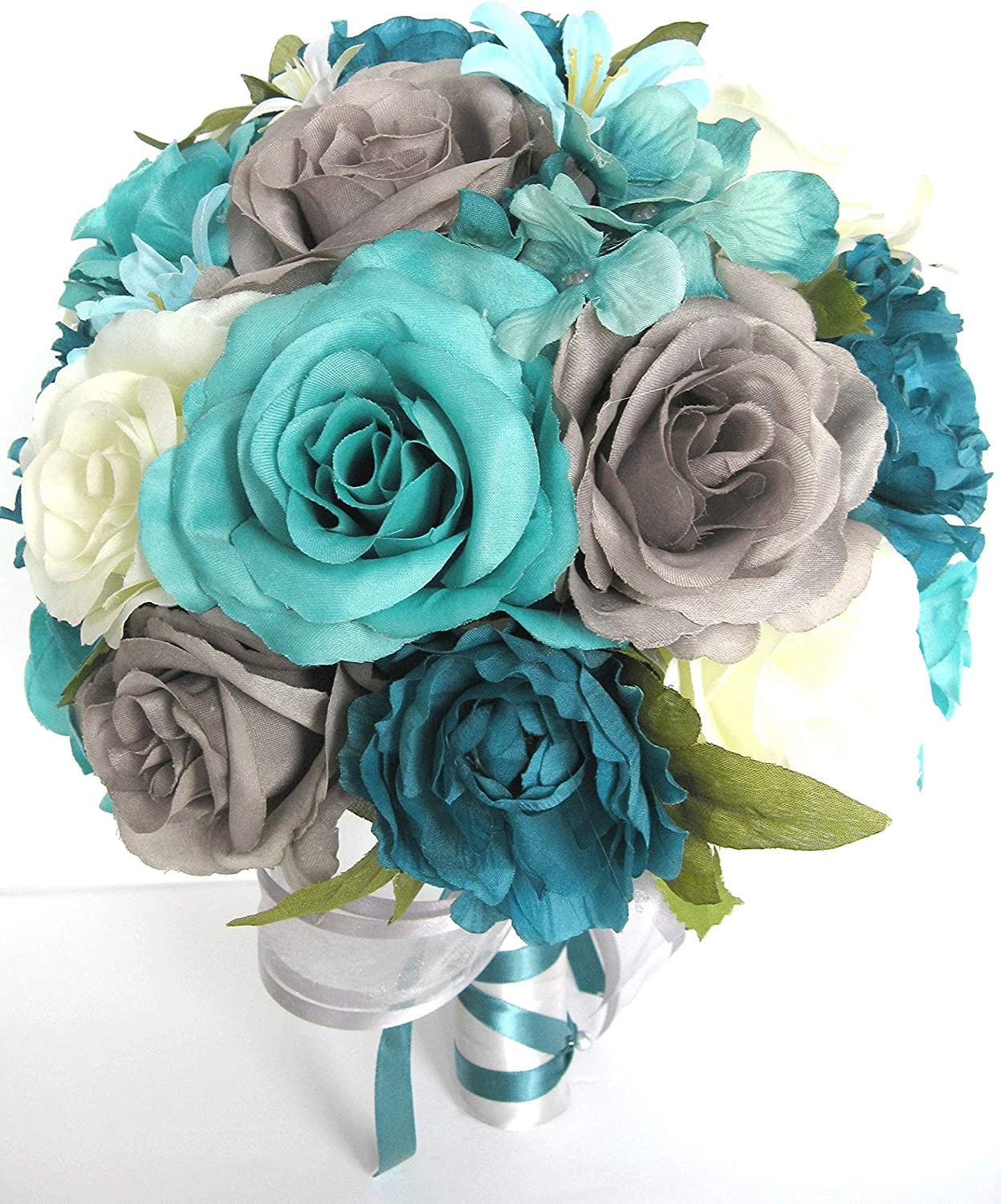 Turquoise and Black Brooch bouquet Breath Blue 7 Fabric Wedding Bouquet Gray Ivory