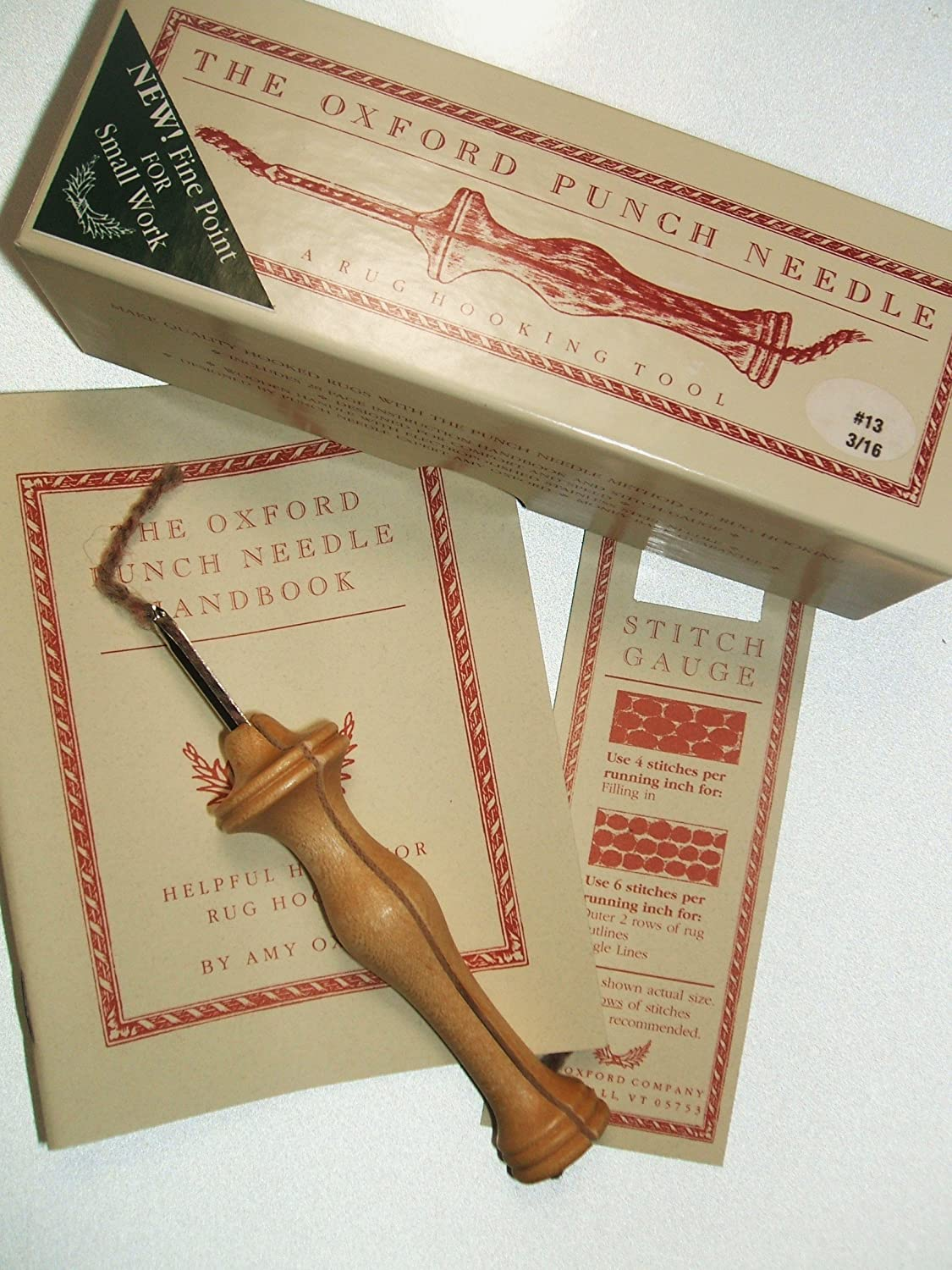 Oxford Wood Punch Needle Rug Hooking Tool The Mini with Heels #13 3/16