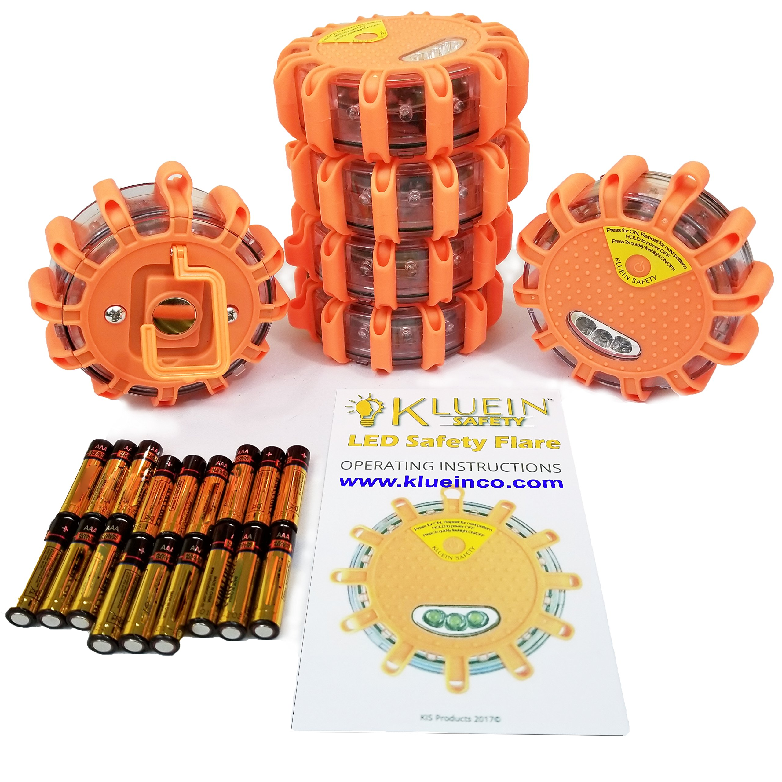 Kluein Safety LED Road Flares (6 Pack) with 18 Batteries Included - Flashing Warning Light Roadside Flare Emergency Disc Beacon - 9 modes + Flashlight, Magnetic Base & Hook for; Car RV Truck Boat Bike