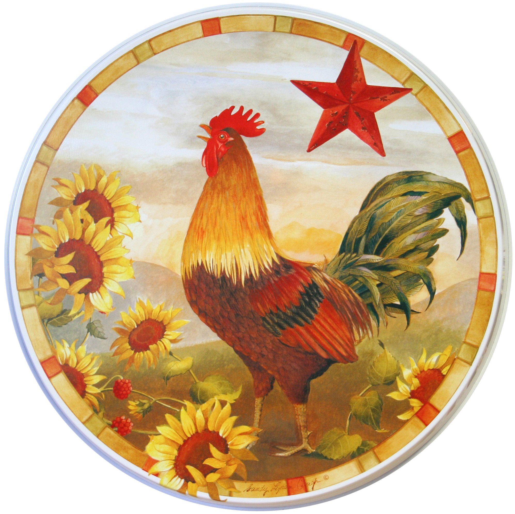 Reston Lloyd Electric Stove Burner Covers, set of 4, Morning Rooster All-Over Pattern by Reston Lloyd
