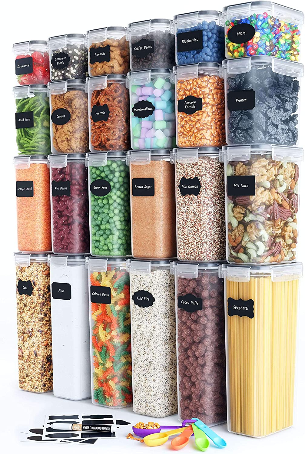 Chef's Path Airtight Food Storage Container Set - 24 PC - Kitchen & Pantry Organization - BPA-Free - Plastic Canisters with Durable Lids Ideal for Cereal, Flour & Sugar - Labels, Marker & Spoon Set -