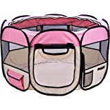 """EXPAWLORER 45"""" Puppy Playpen Dog Exercise Kennel Cat Portable Foldable Pen for Small Medium Pets, With Carry Bag"""