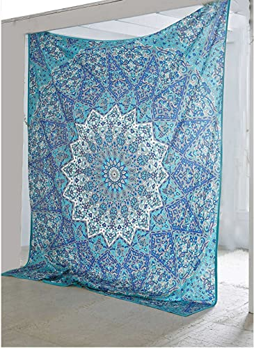 Bless International Traditional-Wall-Art Bohemian-Psychedelic Star-Mandala-Wall-Hanging-Sky-Blue Queen-size-large-84×90-inches-220×240-cm-tapestry