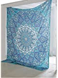 TRADITIONAL-WALL-ART BOHEMIAN-PSYCHEDELIC STAR-MANDALA-WALL-HANGING-SKY-BLUE QUEEN-SIZE-LARGE-84X90-INCHES-220X240-CM-TAPESTRY