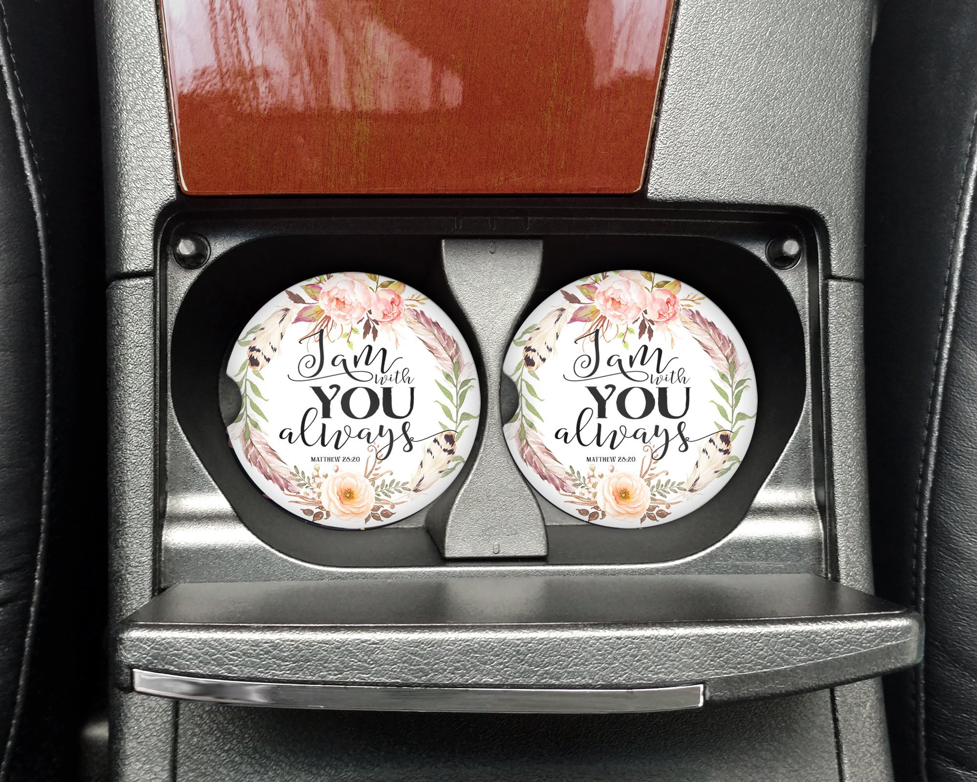 Christian quote - I am with you always - Car coasters - Sandstone auto cup holder coasters - Gifts for women