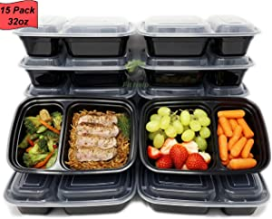 Fit Help - 32oz Meal Prep Containers [15 pack] - 2 compartment | Microwaveable, Dishwasher, Freezer Safe |BPA-free| Reusable Bento Style Lunch Boxes for Portion Control - Quality and Safety