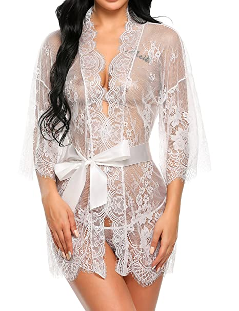 c50b9cf77 Avidlove Women s Sexy Lace Kimono Sexy Nightgown Transparent Mesh Lingerie  Babydoll Dress Robe with Belt and