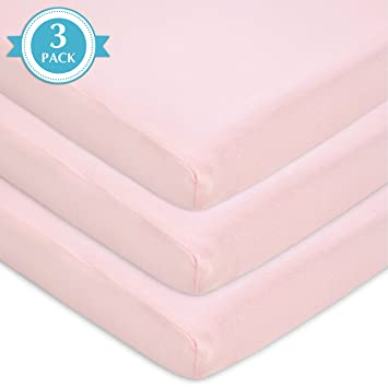 for Girls Pink Soft Breathable Fitted American Baby Company 2 Pack 100/% Natural Cotton Jersey Knit 18 x 36 Cradle Sheet