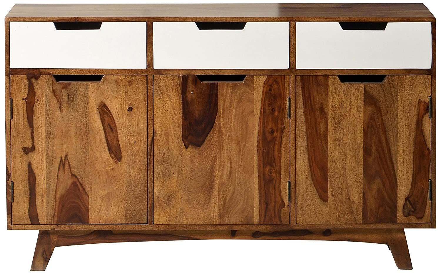 SIT-Möbel 7703-10 Sideboard Sixties, antikfinish, 140 x 40 90 cm, braun / weiß