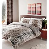 TIGER Printed Quilt Duvet Cover & Pillowcase Bed Set BROWN - DOUBLE SIZE