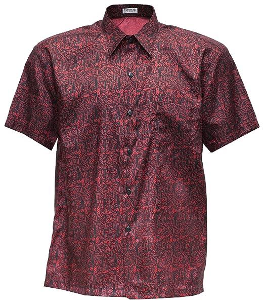 Camisa de Manga Corta de los hombres de seda tailandesa estampada pequeño rojo, Rojo, Small