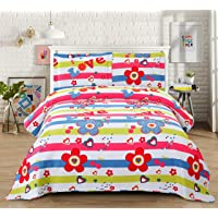 3-Piece Girls Floral Quilt Set Twin with Shams, Flowers Butterfly Colorful Dot Stripe Quilted Bedspread,Lightweight Reversible Coverlet Bedding Set, Soft Breathable for All Seasons (Floral Set, Twin)
