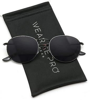 677f002404 WearMe Pro - Reflective Lens Round Trendy Sunglasses (Black Frame Black  Lens