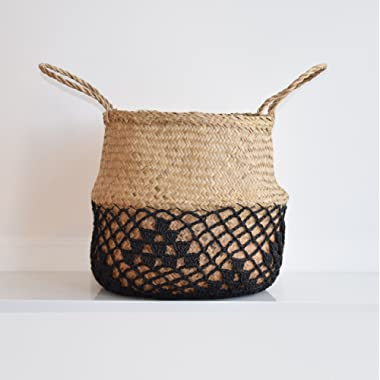DUFMOD Large Natural Black Net Seagrass Woven Tote Belly Multipurpose Basket Storage, Laundry, Picnic, Plant Pot Cover Beach Bag (Natural Net Black, Large)