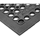 """NoTrax T30 General Purpose Rubber Competitor Safety/Anti-Fatigue Mat, for Wet Areas, 3' Width x 5' Length x 1/2"""" Thickness, Black"""