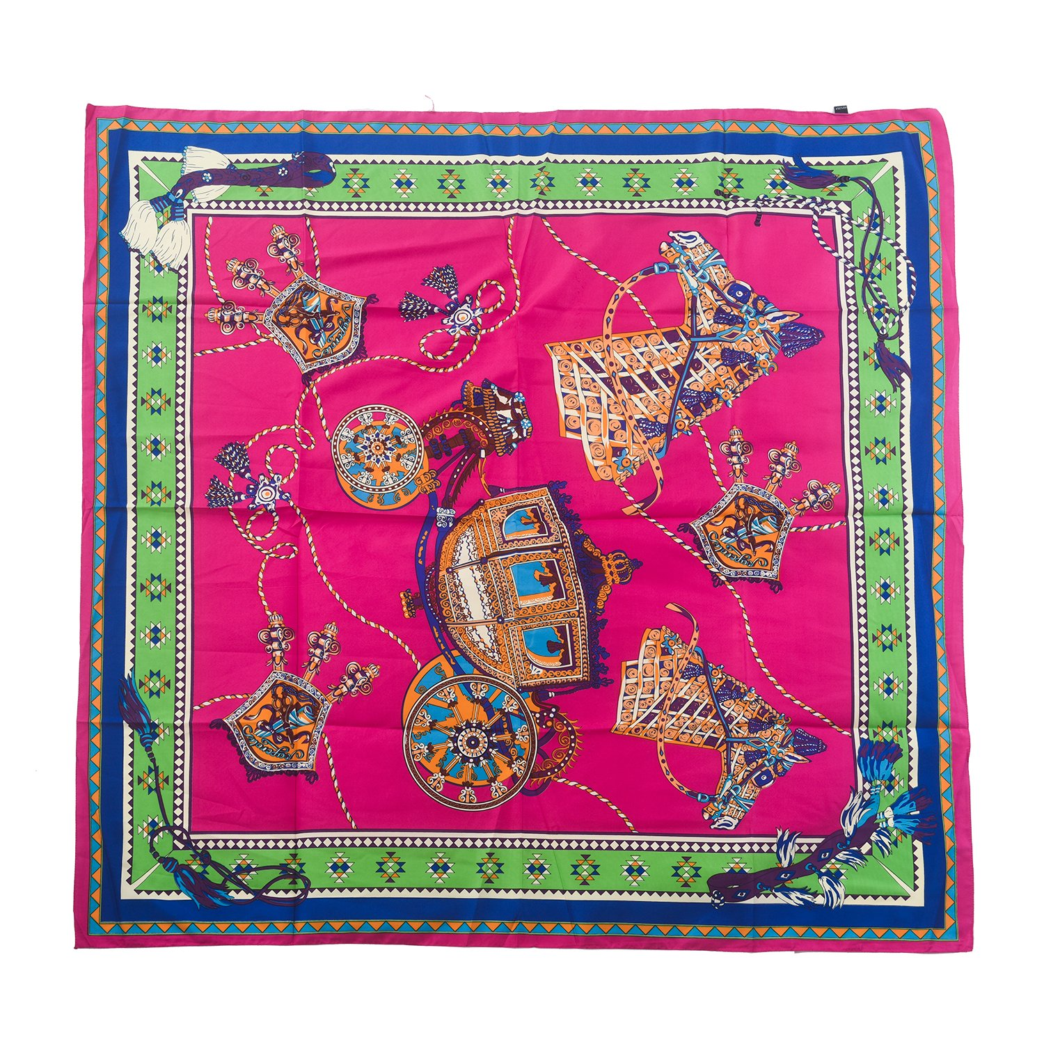 Aquazolax Women Satin Square Blanket Scarf - Print with Royal Style Badge and Carriage Pattern, 49 x 49 inch (125 x 125cm), 4-Hot Pink