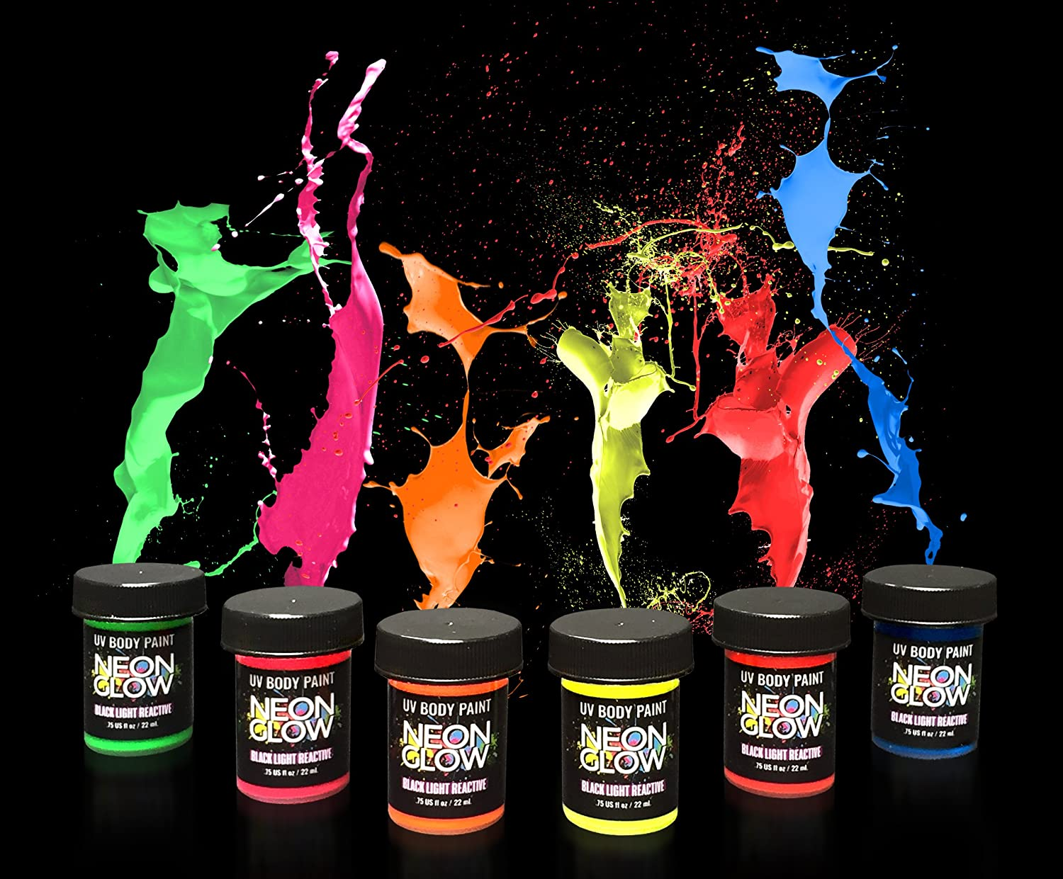 Buy Neon Glow In The Dark Body Art Paint 1 Premium Set 6 Pack Of 75 Oz Bottles Glows Brighter Uv Blacklight Reactive Safe And Non Toxic Fluorescent Set Dries Quickly Goes On