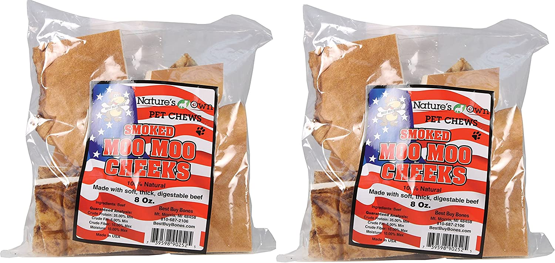 (2 Pack) Best Buy Bones Nature's Own Pet Chews Moo Cheeks Bag Treat, 8 oz